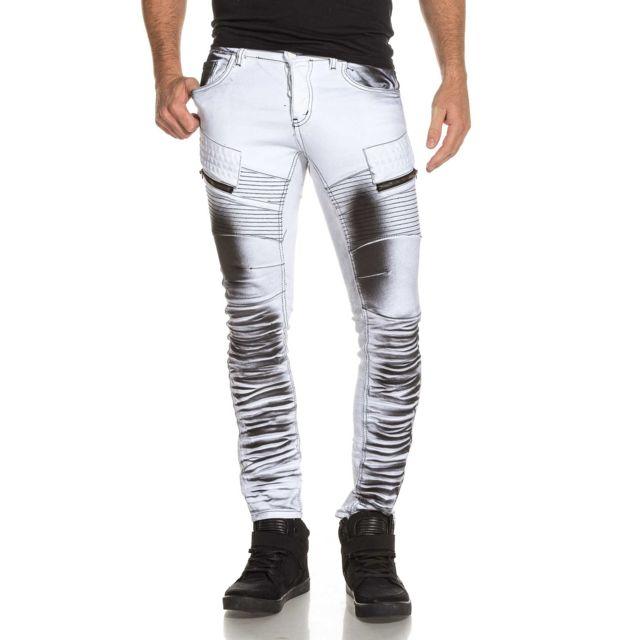 6a71b7f46c48 BLZ Jeans - Jean homme blanc surteint noir effet nervuré. Couleur   Blanc.  Taille