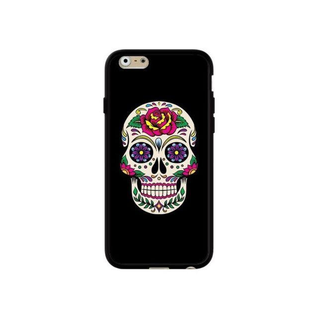 coque iphone 6 et 6s tete de mort mexicaine multicolore noir laetitia