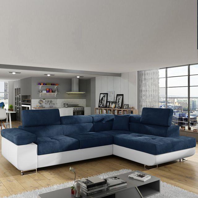 Kasalinea Canapé angle à droite bleu et blanc avec lit Liam