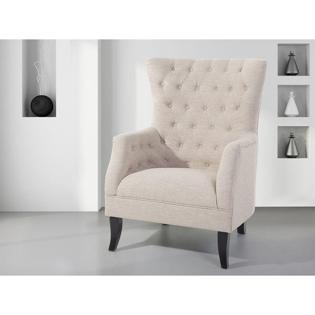 Beliani Fauteuil en tissu beige - fauteuil tapissé - Viborg