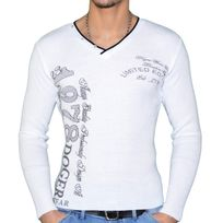 Doger Wear - Pull Col V - Homme - D1005 - Blanc Noir