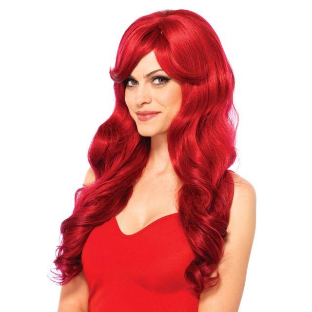 Perruque cheveux longs ondulés Rouge