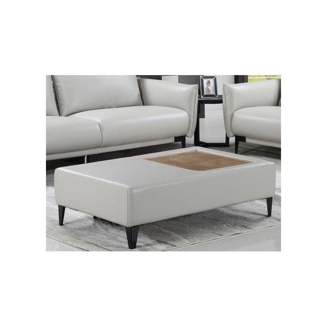 Table en simili et plateau bois CAPELA - Beige