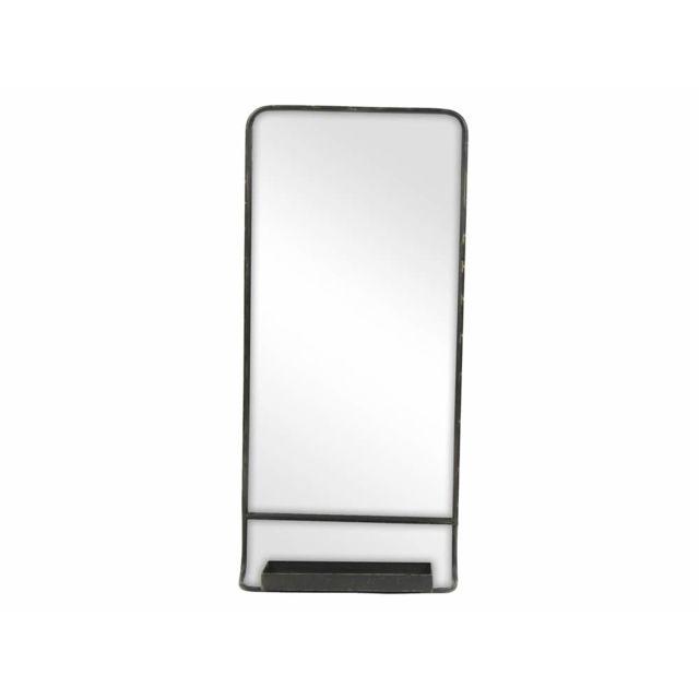 Pomax Miroir rectangulaire en métal avec tablette 39.5x14x86cm Serigraphic