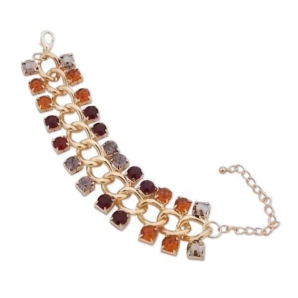 Totalcadeau - Bracelet grosses mailles dorées et faux diamants colorés bijou  fantaisie pas cher Acier - pas cher Achat   Vente Bracelets - RueDuCommerce b02f3b27c988