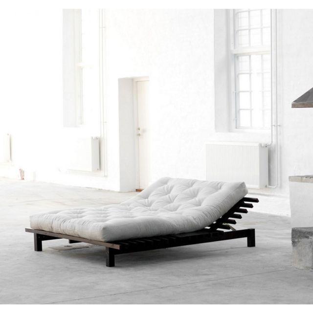 terre de nuit pack futon coton cru 160x200 lit blues bois weng pas cher achat vente. Black Bedroom Furniture Sets. Home Design Ideas