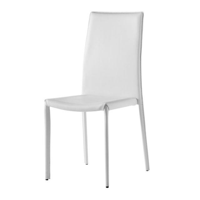 IntÉRIEUR Discount X 4, Chaise design simili-cuir blanc Gold