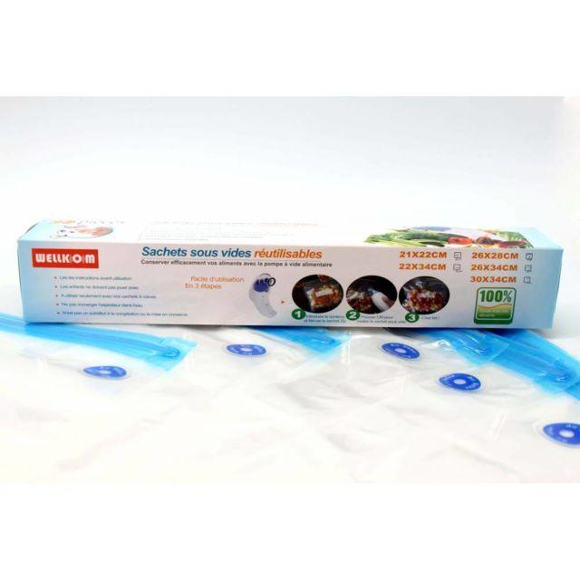Wellkom - Boite 10 sachets tailles mixtes pour mise sous vide Bleu
