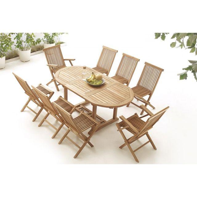 Bobochic Table Ovale 6 chaises + 2 fauteuils Teck Brut Massif