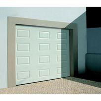 Sonnier Bois Panneaux Menuiserie   Porte De Garage Sectionnelle Motorisée  Finition Blanc à Cassettes Ral 9010