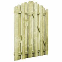 Portail De Jardin Bois Pin Imprégné 100x125cm Design D Arche Clôtures Et Barrières Portillons Vert Vert