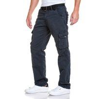 BLZ Jeans - Pantalon cargo gris foncé homme avec ceinture