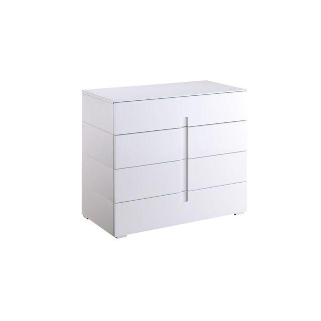 Miliboo Commode design laquée blanc 4 tiroirs Ted