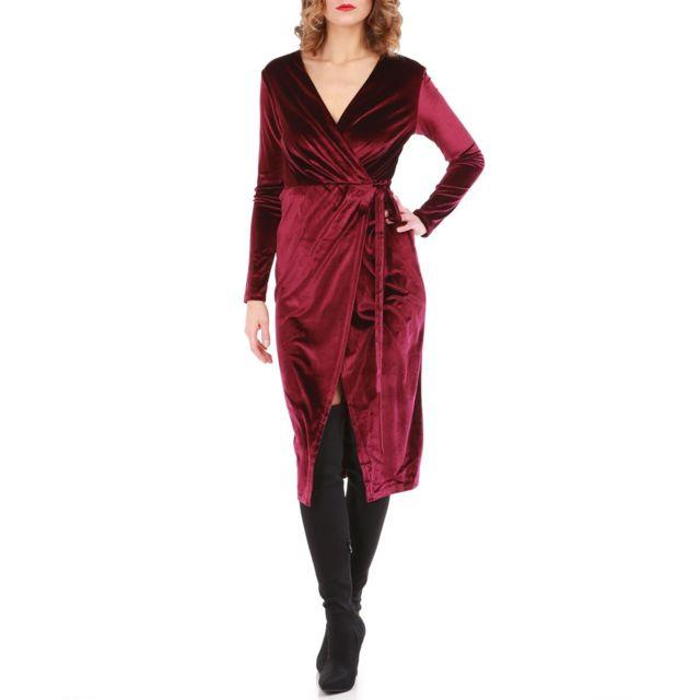10d6ac79c74 Lamodeuse - Robe velours bordeaux coupe portefeuille Rouge - pas ...