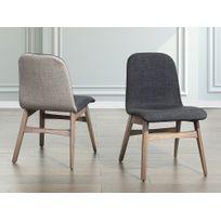 beliani chaise de salle manger chaise en tissu gris fonc madox - Chaise Salle A Manger Gris