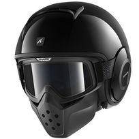 casque jet moto scooter Drak Raw Blank Blk noir brillant Xl