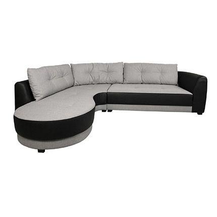 Canapé d'angle à gauche en tissu noir et gris - Nathan
