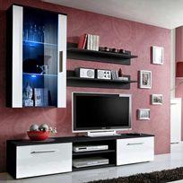 "Paris Prix - Meuble Tv Mural Design ""Galino V Black"" Blanc"