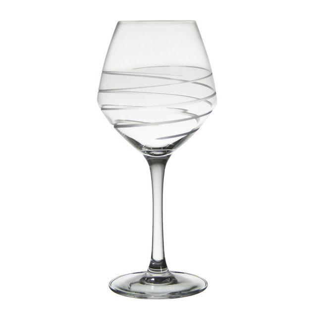 Crisbase Verre à vin 35cl motif gravé - Lot de 6 pièces Lace