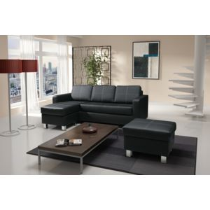relax design canap nora canap d 39 angle noir petit pouf sofa divan achat vente canap s. Black Bedroom Furniture Sets. Home Design Ideas
