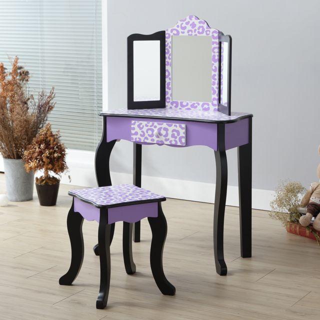 Coiffeuse Enfant Teamson Bois Table Maquillage Miroir Tabouret Fille Td 11670j