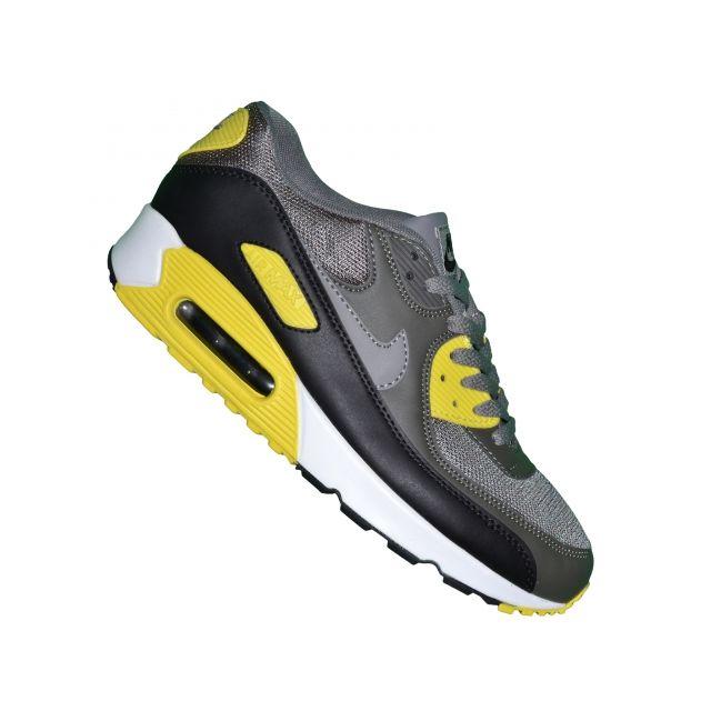 on sale 57799 270a9 Nike - Basket - Homme - Air Max 90 86 - Gris Noir Jaune - pas cher Achat    Vente Baskets homme - RueDuCommerce