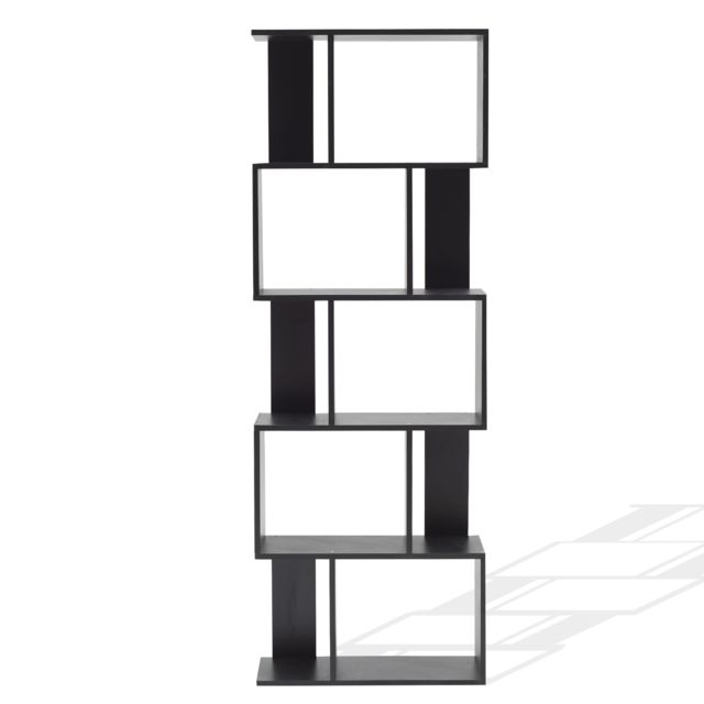 Mobili Rebecca Bibliotheque Etageres Bois Noir Design Moderne 172,5x60x24