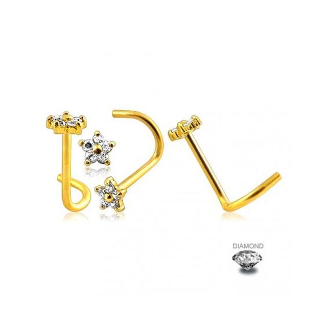 Sans Marque Bijou Pierre Précieuse Piercing Vis pour le Nez En Or Jaune Massif 14 carats Avec Fleur composée de Véritable Diamant