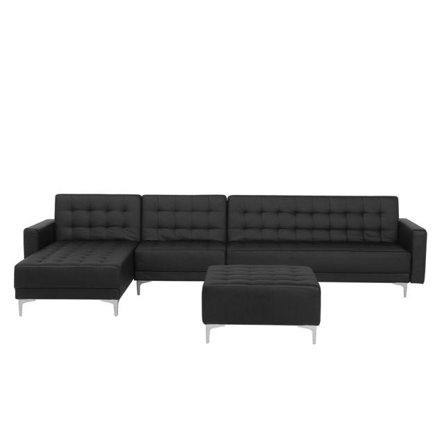 BELIANI Canapé angle à droite convertible en simili-cuir noir avec pouf ottoman ABERDEEN
