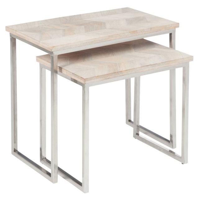 Tousmesmeubles Tables gigognes Bois/Métal - Chevy - L 61 x l 34 x H 56