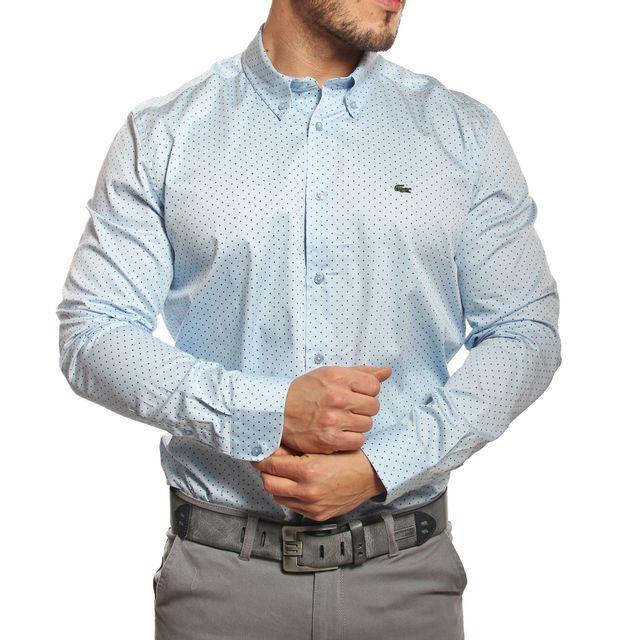 35c9564117e Lacoste - Chemise homme slim fit satinée bleu clair - pas cher Achat    Vente Chemise homme - RueDuCommerce
