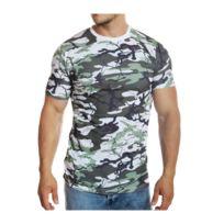 Mode Labs - Mh Studio - T-shirt imprimé camouflage blanc manches courtes