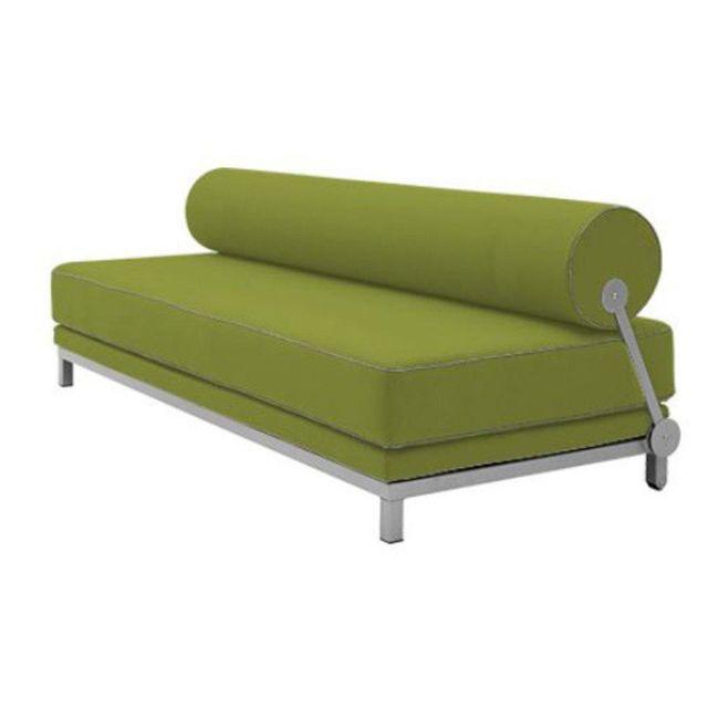 Inside 75 Canapé lit convertible design Sleep en tissu laine vert structure aluminium Softline