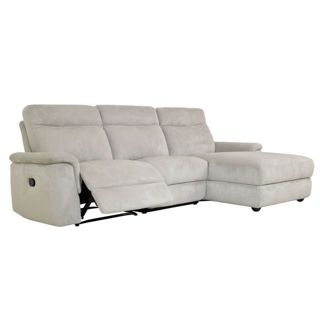 Momentime Canapé d'angle avec 1 place relax manuel et coffre de rangement Choku - Gris clair - Droit