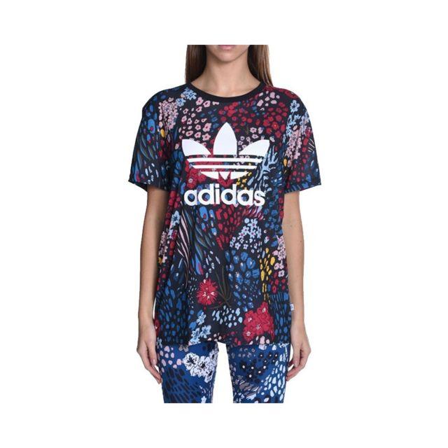 Adidas Tee shirt Trefoil Noir Femme Noir 38 pas cher