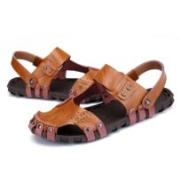 5ddc35dbcea3ab Wewoo - Sandales Confortable en cuir souple couleur unie de plage pour  hommes couleur: brun