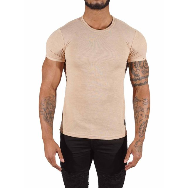 Tee Shirt semi oversize zippé sur les côtés Homme Paris 88171149, Taille: Xl, Couleur: Beige