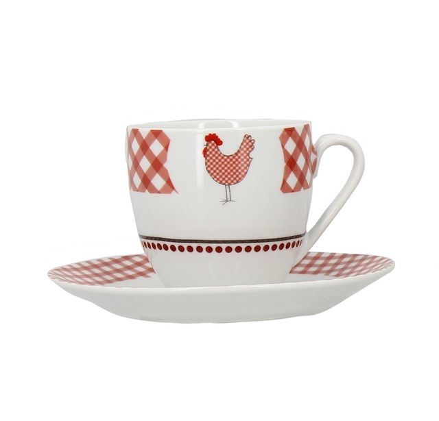 Lebrun Paire tasse 25 cl rouge Country