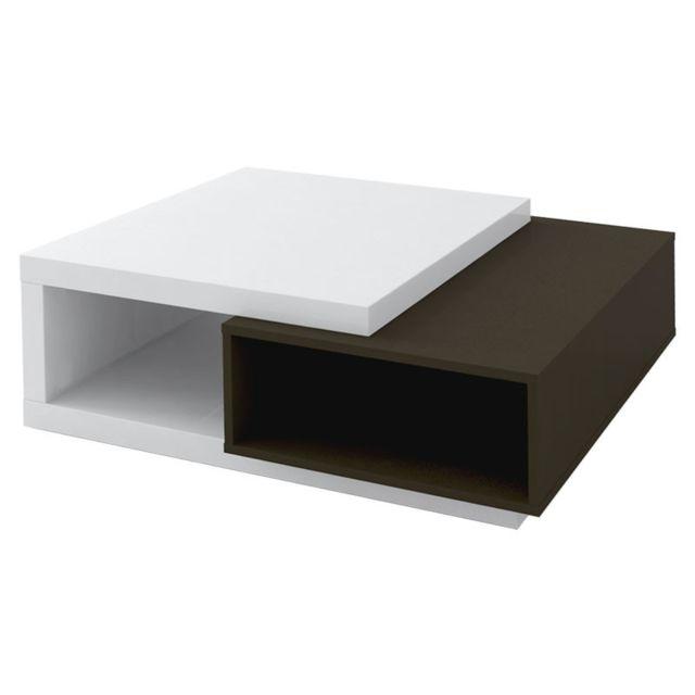 Tousmesmeubles Table basse Gris/Blanc brillant - Watom