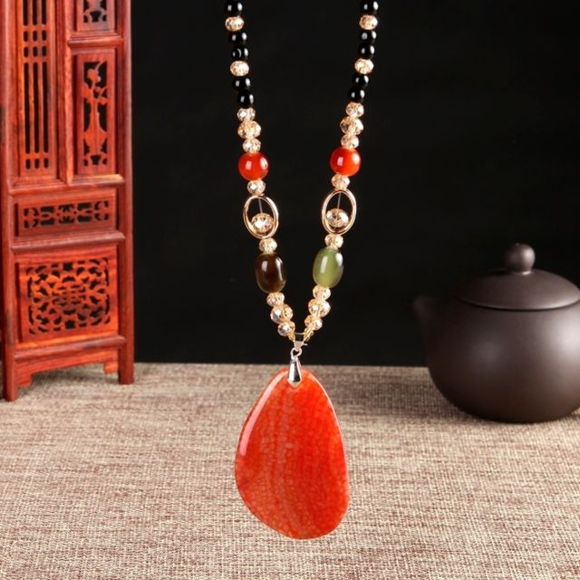 collier orange femme