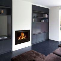 Termofoc - Insert chaudière à bois modèle c690h + cadre quadro complet 40mm verre cristal noir pour insert c690h