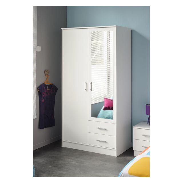 Last Meubles - Armoire Orizon 2 portes, 2 tiroirs Blanc - 50cm x 180cm x 90.5cm