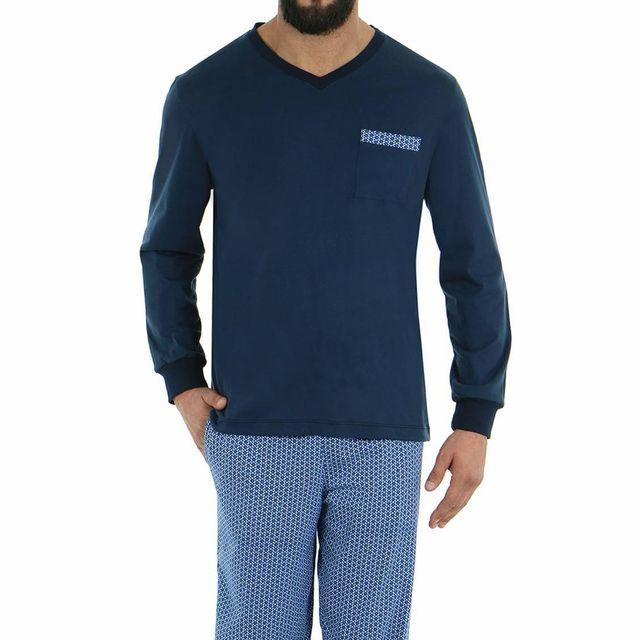e62b86d8730a2 Eminence - Pyjama long en jersey de coton : tee-shirt manches longues col V  bleu marine, pantalon à motifs hexagonaux bleus et blancs - pas cher Achat  ...