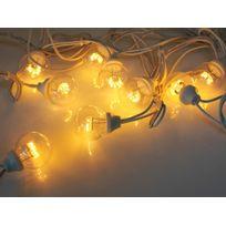 Leblanc Illumination - Guirlande extérieure guinguette 10 Led avec filament blanc chaud longueur 5m Tradition - Câble blanc