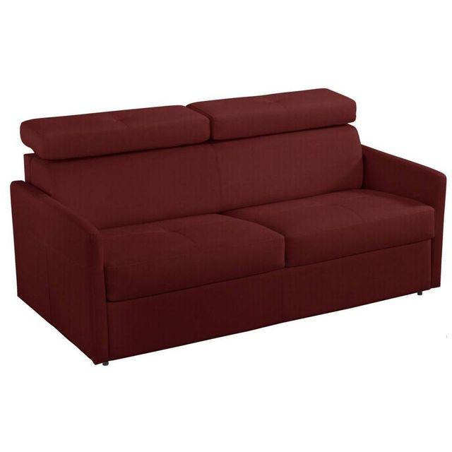 inside 75 canap 3 4 places paris en microfibre bordeaux couchage 160cm ouverture rapido 87cm. Black Bedroom Furniture Sets. Home Design Ideas
