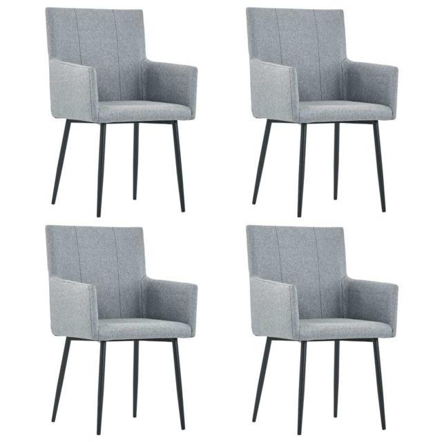 Superbe Fauteuils et chaises selection Brasilia Chaises de salle à manger avec accoudoirs 4pcs Gris clair Tissu