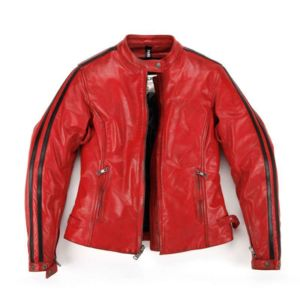 Veste cuir femme rouge pas cher