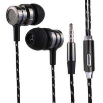 Wewoo - Ecouteur Kit Mains libre noir pour iPhone, iPad, Galaxy, Huawei, Xiaomi, Lg, Htc et Autres Smartphones 1.2 m Basse Stéréo Sound In-Ear Contrôle Du Fil Sport Écouteur avec Micro