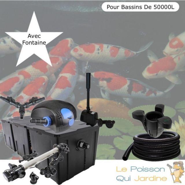 Le Poisson Qui Jardine Kit Filtration Complet, 110W, Acier Inoxydable + Fontaine, Bassins De 50000 L