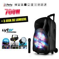 """Party Sound - Enceinte mobile amplifiée 700W 12"""" Led/USB/BT/SD/FM + Micro + 3 jeux de lumière LytOr"""